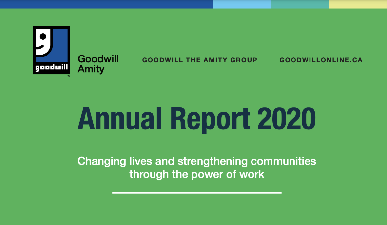 thumbnail screenshot of the Goodwill Amity Annual Report 2020