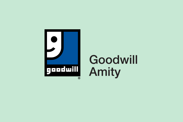 Goodwill Amity logo on green background