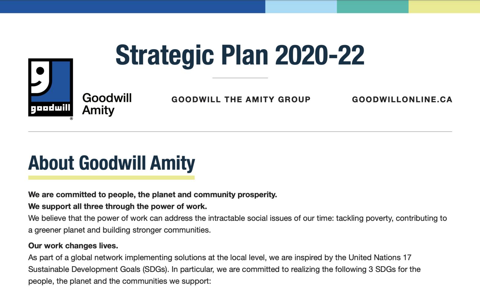 Thumbnail screenshot of the Goodwill Amity Strategic Plan 2020-22