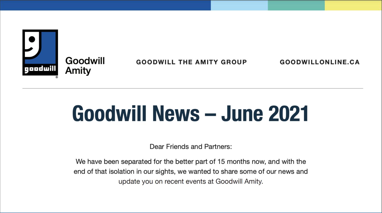 Screenshot of Goodwill Newsletter June 2021