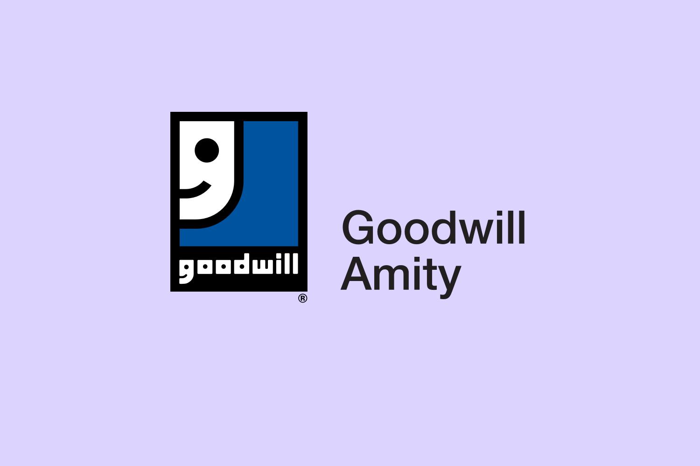 Goodwill Amity logo on purple background