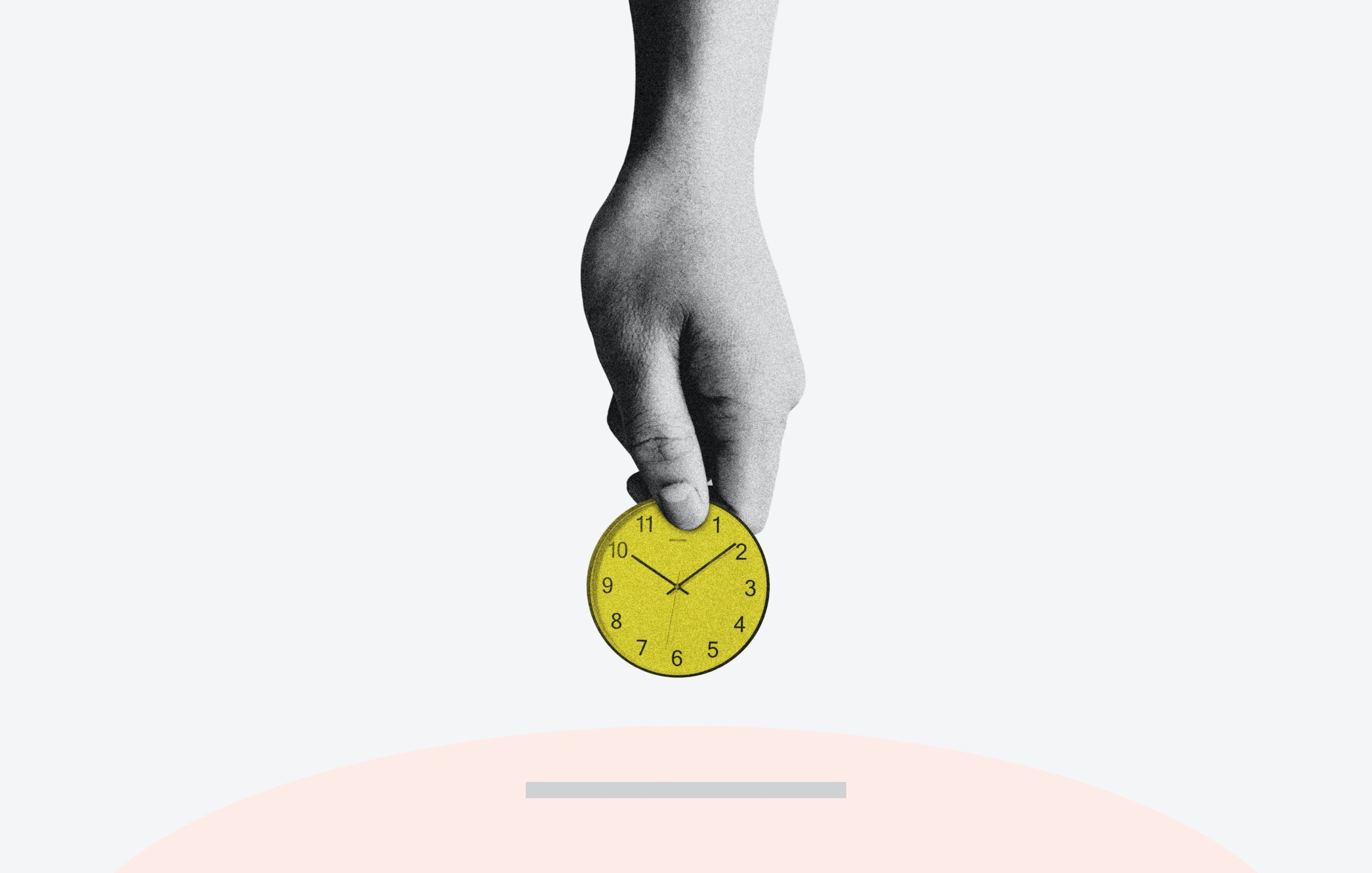 A collage cut out of of a hand in holding a cut out of a yellow clock face