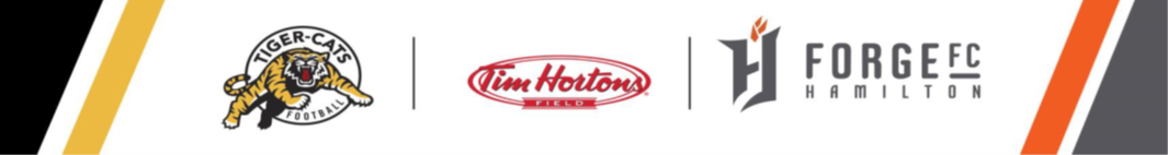 logos of the Hamilton Tiger Cats, Tim Hortons Field, and Forge FC Hamilton